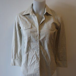 THEORY WHITE/BLUE PLAID BUTTON DOWN SHIRT SZ P/S*